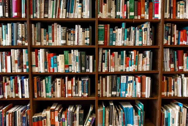 Image of books in school library